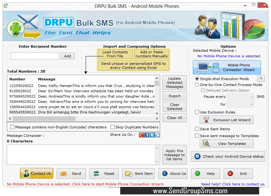 Bulk SMS Software for Android mobile phone text messaging program
