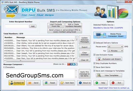 Free sms to blackberry mobile phone software