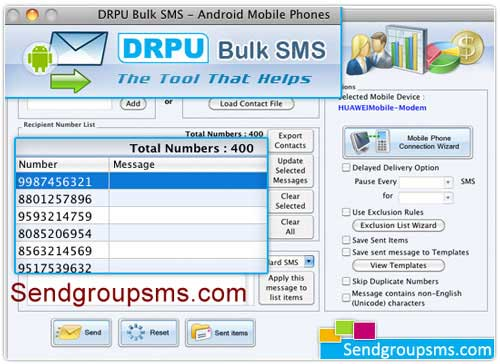 Mac Bulk SMS Software for Android Mobile