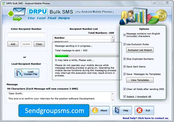 Bulk SMS Software for Android Phone screenshot